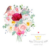 Bouquet arranged from flowers and robin bird vector design set Stock Image