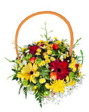 Bouquet arrangement centerpiece in basket Stock Images