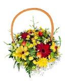 Bouquet arrangement centerpiece in basket Stock Images