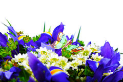 A bouquet and artificial butterfly Stock Images