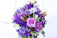 Bouquet of Artificial Flower Colorful, white background Stock Photos