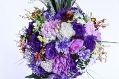 Bouquet of Artificial Flower Colorful, white background Stock Images