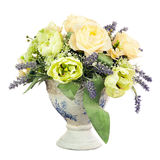 Bouquet from artificial flowers arrangement centerpiece in old v Stock Images