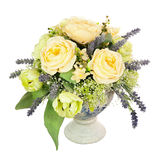 Bouquet from artificial flowers arrangement centerpiece in old v Royalty Free Stock Images