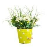Bouquet from artificial flowers arrangement centerpiece in yello Stock Photo
