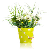 Bouquet from artificial flowers arrangement centerpiece in yello Royalty Free Stock Photos