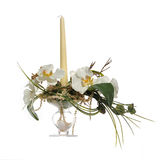 Bouquet of artificial flowers with candle Stock Image