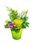 Bouquet from artificial flowers and fruits isolated on white bac Stock Photos