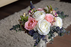 A bouquet of artificial flowers in a vase, decor 4 Royalty Free Stock Photo