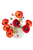 Bouquet of artificial poppies in a vase Stock Images