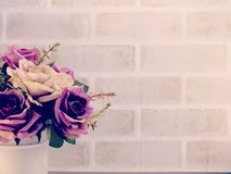Bouquet of artificial roses flowers with copy space background. Bouquet of flowers with copy space background Stock Photos