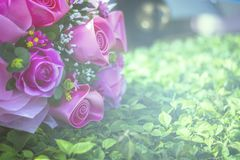 Bouquet of artificial roses. Vintage style. beautiful purple flower Royalty Free Stock Photos