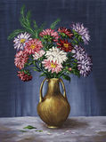 Bouquet of asters in a clay vase Royalty Free Stock Images