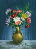 Bouquet of asters in a clay vase Stock Photo