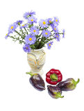 Bouquet of asters and pepper Royalty Free Stock Photography