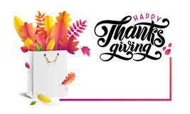 Bouquet of autumn fallen leaves in gift paper shopping bag. Lettering hand written text Happy Thanksgiving. Sale card. royalty free illustration