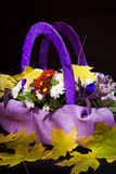 Bouquet of autumn flowers in a basket of lilac color. Royalty Free Stock Images