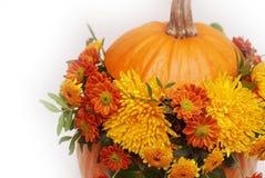 Bouquet of autumn flowers in pumpkin. Autumn or Halloween arrangement. Isolated. Crisanthemum orange flowers. stock photography