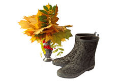 A Bouquet of autumn leaves and boots Royalty Free Stock Image