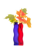 Bouquet of autumn leaves in bright colored vase Stock Photo