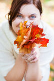 Bouquet of autumn leaves in woman hand Royalty Free Stock Photo