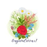 Bouquet avec des roses et des marguerites Photos stock