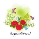 Bouquet avec des roses et des marguerites illustration stock
