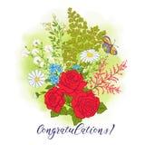 Bouquet avec des roses et des marguerites illustration libre de droits