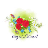 Bouquet avec des roses et des marguerites illustration de vecteur