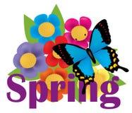 Bouquet avec le ressort de papillon et de textes Images stock