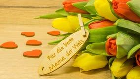 Bouquet avec le texte en allemand Images stock