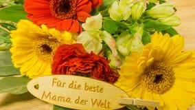 Bouquet avec le texte en allemand Photos stock