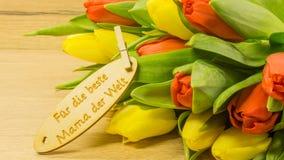 Bouquet avec le texte en allemand Photographie stock libre de droits