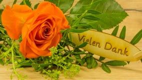 Bouquet avec le texte en allemand Photo stock