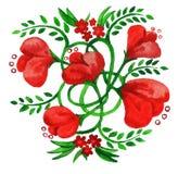 Bouquet avec les fleurs rouges décoratives Images libres de droits