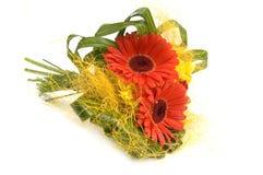 Bouquet avec les fleurs rouges et jaunes Photos stock