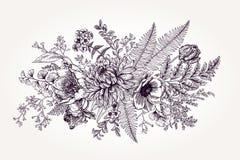 Bouquet avec un jardin avec des fleurs Photographie stock