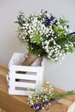 Bouquet of baby's breath with eucalyptus and lavender Royalty Free Stock Photos
