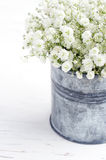 Bouquet of baby's breath flowers, on wooden background Stock Photos