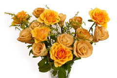 Bouquet of baked and fresh roses isolated on white. Bouquet of baked and fresh yellow roses isolated on white background Stock Photos