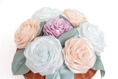 Bouquet, basket of flowers kanzashi from satin ribbons. Japanese traditional handmade decorations, pastel colors royalty free stock image