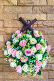 Bouquet of Beautiful Artificial Pink and White Rose Floral Hanging on Brick Wall for Interior Royalty Free Stock Images