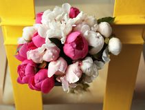 Bouquet of beautiful colorful peony flowers. Closeup Royalty Free Stock Image
