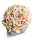 Bouquet of beautiful flowers in basket Stock Image