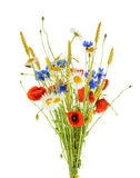 Bouquet of beautiful flowers Cornflowers, chamomiles wheat and Stock Photo
