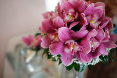 A bouquet of beautiful flowers of orchids. Royalty Free Stock Image