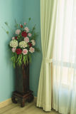 Bouquet of beautiful flowers. In the vase near the window Royalty Free Stock Photos