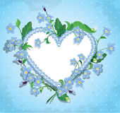 Bouquet of beautiful forget me not flowers and lac Stock Photos
