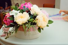 Bouquet of beautiful multicolored peonies stock photo