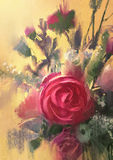 Bouquet of beautiful pink roses. Painting showing bouquet of beautiful pink roses Stock Image
